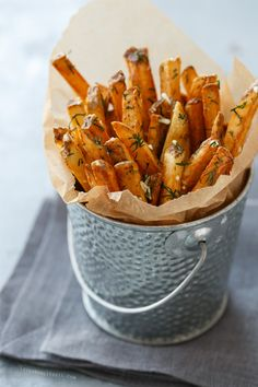 Crispy Homemade French Fries tossed with Fresh Garlic and Dill