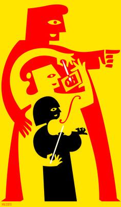 Illustration by Max Kisman for an essay on the future of Dutch arts and culture. De Volkskrant 2011.Source: De Volkskrant/Betoog. 2011