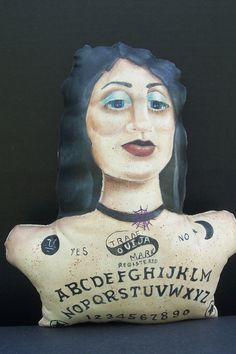 Original Primitive Gothic Folk Art Doll Bust Pillow Ouija by CreativelyJuiced on ETSY