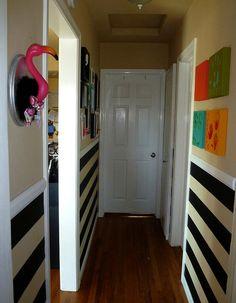hallway, black and white stripes