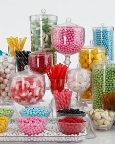.candy in various glass containers