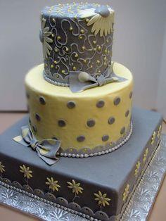 . gray weddings, yellow weddings, idea, sugar paste, colors, daisi, wedding cakes, grey, yellow cakes