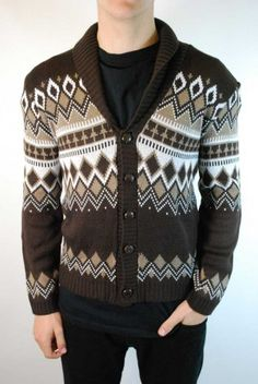 Mens chocolate brown retro 70s Christmas cardigan