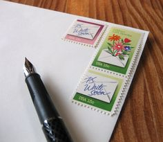 P.S. Write Soon: Set of unused vintage postage stamps with letter-writing theme from Missive Maven on etsy