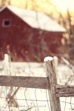 Winter barn scene.