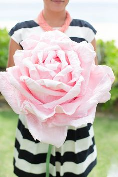 over-sized paper flower bouquet, photo by Ashley Goodwin http://ruffledblog.com/kate-spade-inspired-wedding-in-hawaii #bouquets #paperflowers
