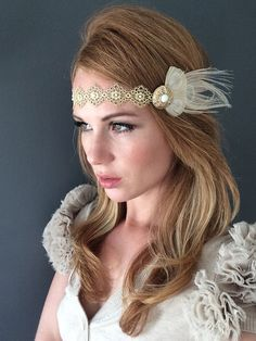 Gold Gream Feather 1920 Great Gatsby Headband by Miss S-a Headbands