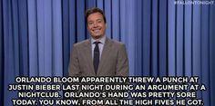 Jimmy Fallon Is The Guy high five, orlando bloom, jimmi fallon