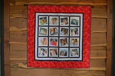 Hanging quilt with photos of couple
