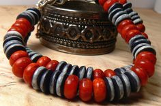 Coral Stone Bracelet Black and White Stone by StudioMJewelry, $45.00
