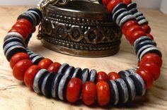 coral stone, white stone, stone bracelet, bracelet black