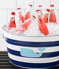 whale tub - love the stripes and whale! bucket, coolers, parti tub, summer, beach, vineyard vines, pink lemonade, whale, cold drinks