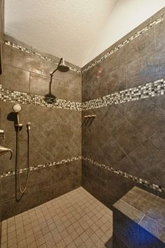Bath with tiled shower