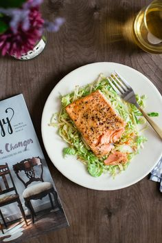 Honey Mustard Salmon with Shaved Brussel Sprout Salad /