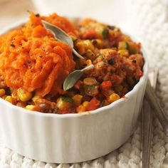 Turkey & Sweet Potato Shepherd's Pie - Tired of the roasting and slicing the traditional turkey every year?  This may be an option for you.