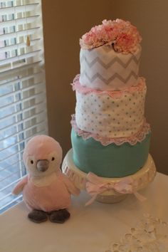 Diaper Cake I made for a Baby Shower