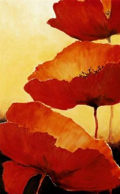 This would be nice hanging in an entryway or living room.  Painting of poppies.