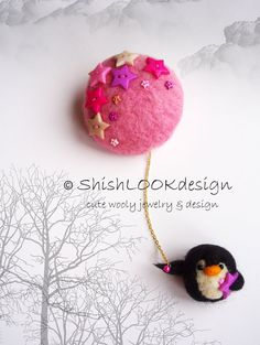 Felted Animal Brooch Hand Felted Jewelry by ShishLOOKdesign