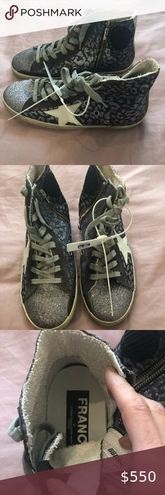 NIB! Golden Goose Glitter Leopard/White Star New in box with tags attached! Selling these amazing Golden Goose Deluxe Brand Glitter Leopard White Star Francy's, Size 36. Comes with original box and shoe bag. Perfect neutral colors - one of my faves. Golden Goose Deluxe Brand Shoes Sneakers