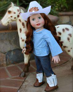 Blue West, 18 inch doll Western Outfit, is at Harmony Club Dolls' online store www.harmonyclubdolls.com