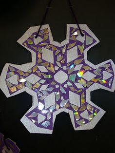 broken cd's as mosaic