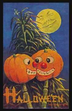 Vintage Halloween card. Pumpkins. Full moon.