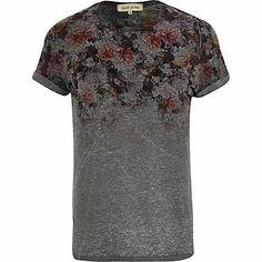 Dark grey floral yoke print t-shirt