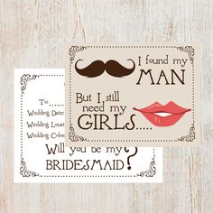 Bridesmaids Cards - Set of 8. via Etsy.