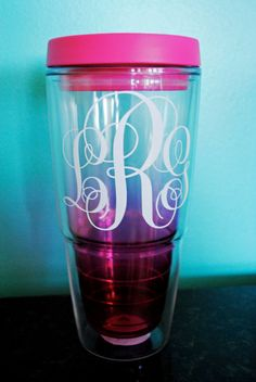 Monogram Tumbler Ombre PERSONALIZED by monogramxoxo on Etsy, $16.00