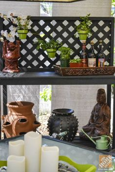 Great Idea! It's a potting bench that doubles as an outdoor buffet table!