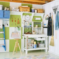 Pegboard idea for shed...different colors though...maybe red and grey