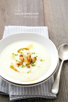 Creamy Cauliflower Soup with Brown Butter from @Lindsay Dillon Dillon Dillon Landis | Love and Olive Oil