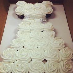 We love this wedding dress cupcake cake!