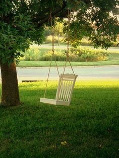 10 DIY Adorable Tree Swings chair tree, diy ideas, tree swings, yard, dining chairs, chair swing, old chairs, dining room chairs, outdoor swings