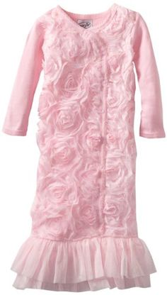 Mud Pie Baby-Girls Newborn Chiffon Sleep Gown, Pink, 0-6 Months Sleeper is covered with chiffon rosettes, and is trimmed in layers of soft pink mesh ruffles.. Perfect outfit to bring home your new baby girl!. Turn inside out, machine wash cold, dry flat. Do not bleach..  #MudPie #Apparel