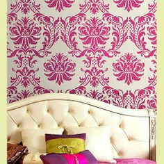 Cutting Edge Stencils - Gabrielle Damask Stencil  - this looks like it might be a candidate for a fabric - quite beautiful!