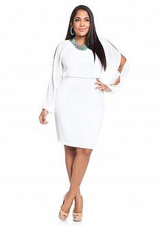 Ashley Stewart: Pique Chiffon Dress style, cloth, pure white, rock, piqu chiffon, curvi, curvaci fashion, chiffon dresses, ashley stewart dresses