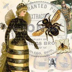 Vintage abeilles Clip Art