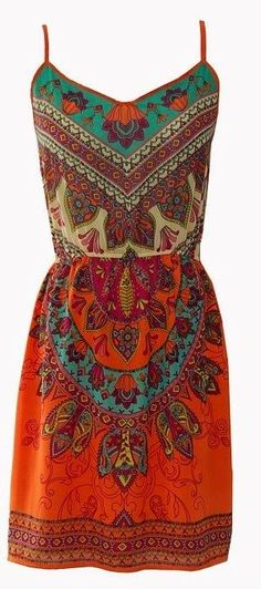 Lovely thin strap boho style mini dress