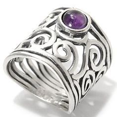 Sterling Silver Amethyst Cabochon Open Work Swirl Wide Band Ring