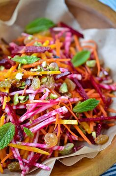 carrot and beet salad with pistachio butter // oh the colors