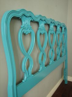 blue painted bed
