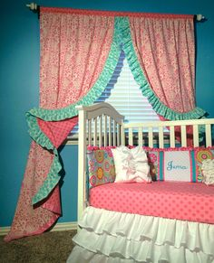 Reversible Ruffled Curtains & Crib Bedding by LikeMyMotherDoes, $150.00