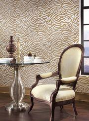 Animal Magnetism in gold wallpaper for the chic dining room http://lelandswallpaper.com!