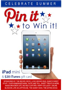 We're celebrating Summer with a fun giveaway!  Enter to win an iPad mini and 20 dollar  iTunes gift card. www.TheDatingDivas.com #pintowin #giveaway #ipadmini