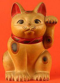 "Maneki Neko - Painted Pottery. Circa Taisho to Showa Periods. 10"" (25.5cm)."
