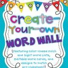 Editable Word Wall with Dolch Words included, plus an adorable word wall banner, and more! $10.00