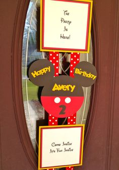 Mickey Mouse Birthday Door Banner  Hanger by PicturePerfectParty