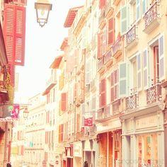 Soft pastel colored buildings!!! Bebe'!!! Love pastels!!!