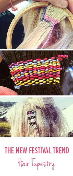 Needlepoint For Your Hair? Yes, This Is the New Festival Hair Trend. ...interesting. I feel if done right it could be really cool. festiv hairstyl, tapestri, hair trend